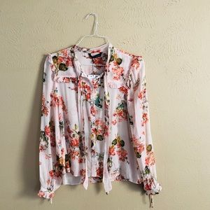 Zara floral pink button down tie blouse large